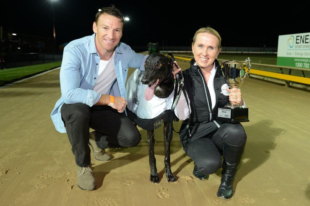 AFL games record holder and GRV racing ambassador Brent Harvey and 2017 Ballarat Cup winner Aston Bee Dee with Seona Thompson