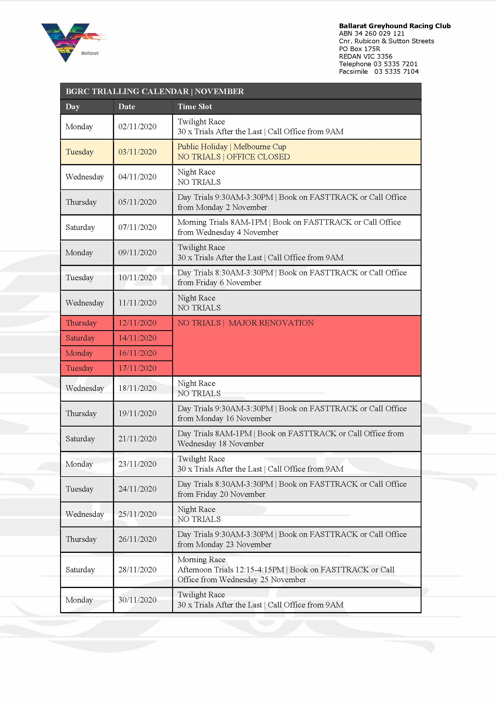 NOV TRIAL CAL_MAJOR RENOVATION NOTIFICATION