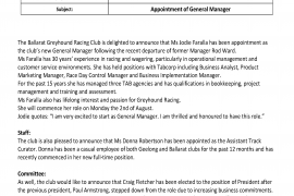 Appointment of New General Manager