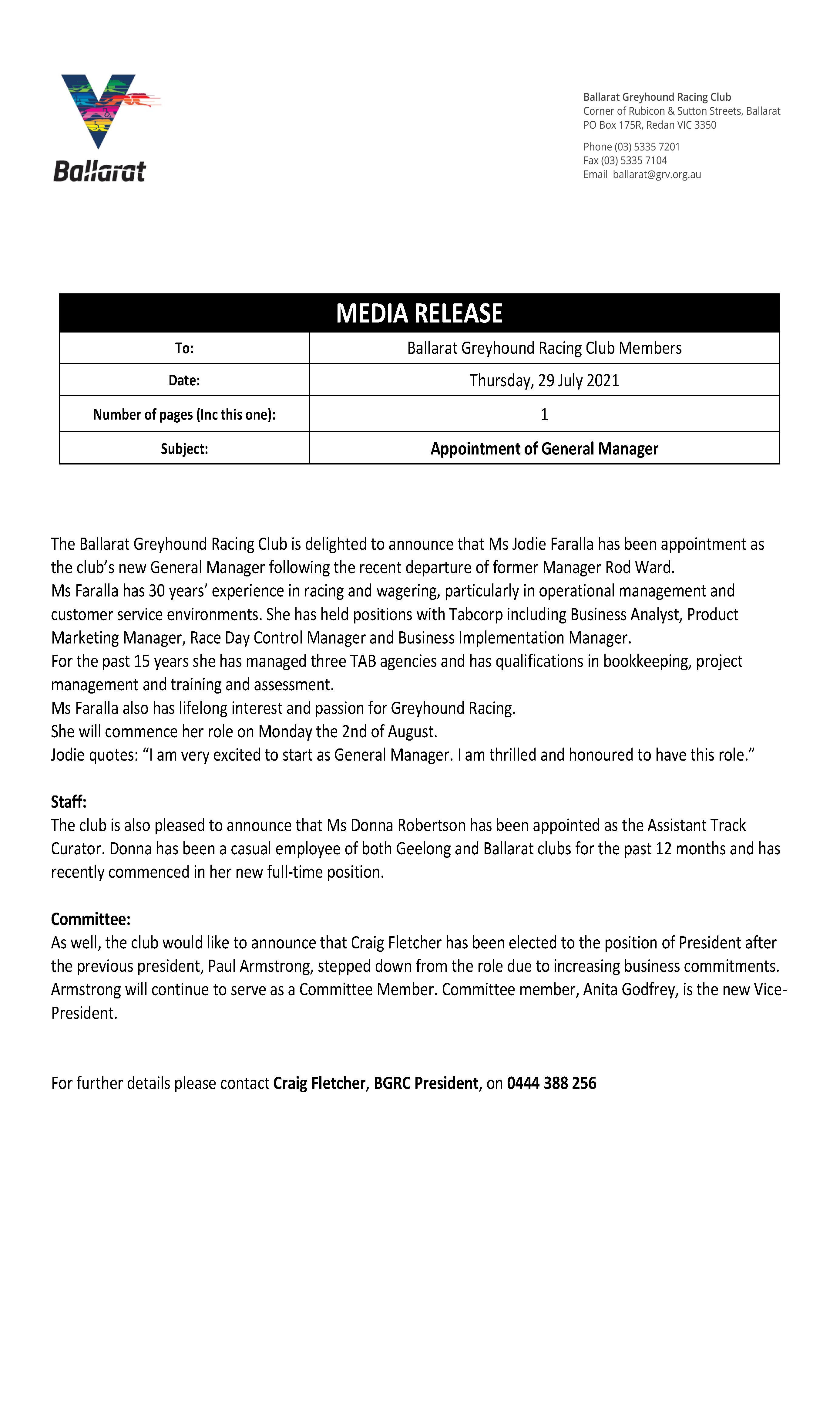 Media Release General Manager